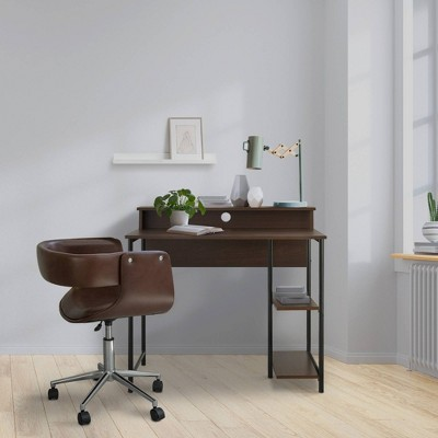 """35"""" Wooden Home Office Computer Desk with Metal Base and Storage Natural/Black - Versanora"""