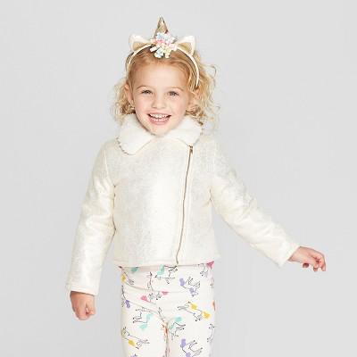 Toddler Girls' Foil Moto Jacket - Genuine Kids® from OshKosh Gold 12M