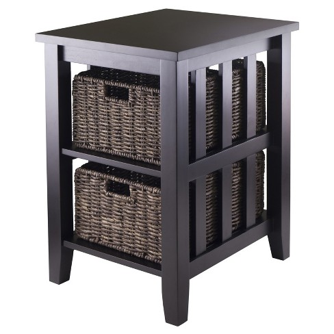 Morris Side Table with Baskets   - Espresso, Chocolate - Winsome - image 1 of 1