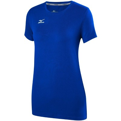 Mizuno Womens Regular Fit Short Sleeve Crew Athletic T-shirt - Blue Medium