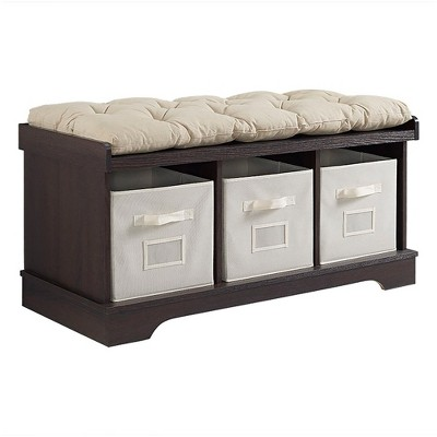 "42"" Wood Storage Bench With Totes And Cushion - Saracina Home"