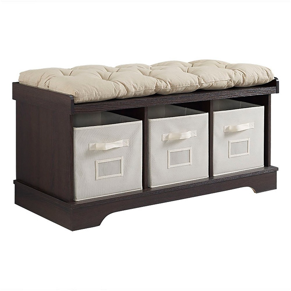 42 Wood Storage Bench with Totes and Cushion - Espresso (Brown) - Saracina Home
