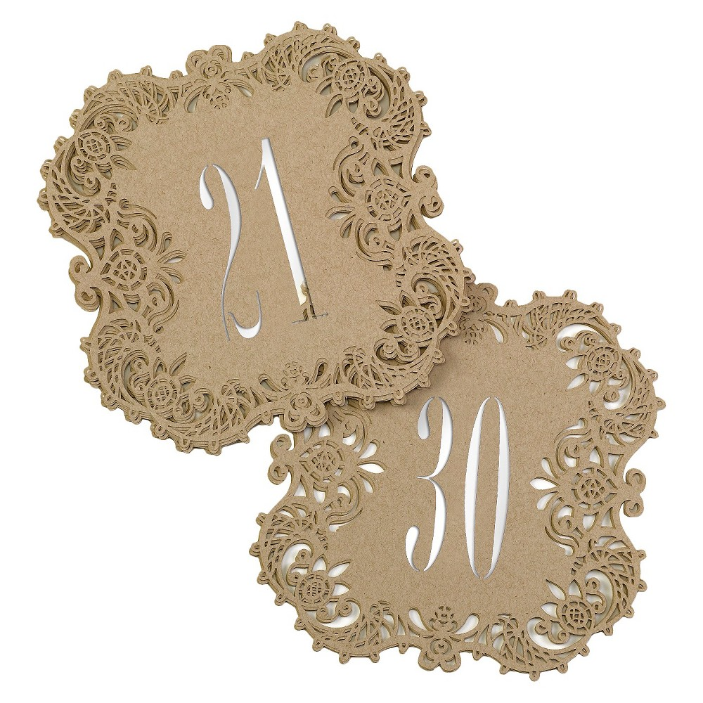 Laser Cut Table Number Cards (21-30) - Brown