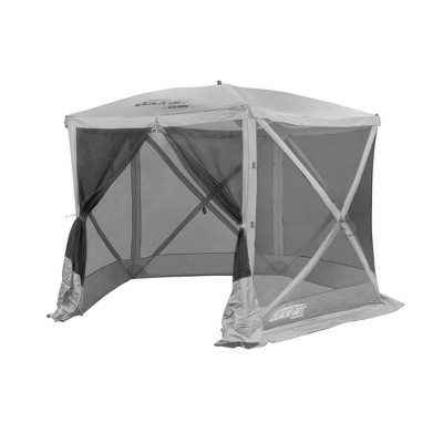 CLAM Quick-Set 9 x 9 Foot Venture Portable Pop Up Outdoor Camping Gazebo 5 Sided Canopy Shelter with Ground Stakes and Carrying Bag, Gray