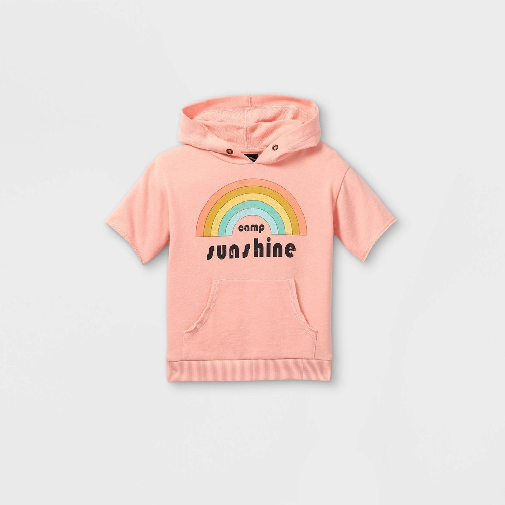 Toddler Hooded Short Sleeve Sweatshirt Art Class 8482 Washed Pink 4t