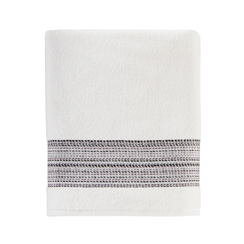 Geo Stripe Bath Sheet White - Saturday Knight Ltd.