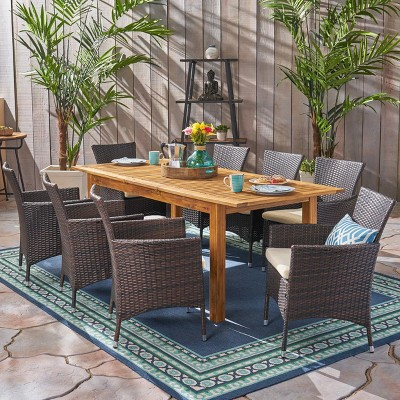 Nadia 9pc Wood & Wicker Expandable Dining Set - Natural/Brown/Beige - Christopher Knight Home