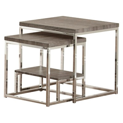 2pc Lucia 2 Pc Nesting Table Gray/Brown - Steve Silver