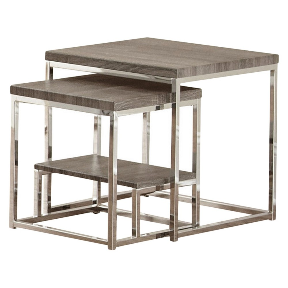 Image of 2pc Lucia 2 Pc Nesting Table Gray/Brown - Steve Silver