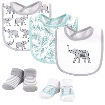 Hudson Baby Infant Cotton Bib and Sock Set 5pk