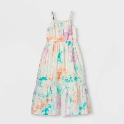 Girls' Tiered Tie-Dye Woven Maxi Sleeveless Dress - Cat & Jack™ White