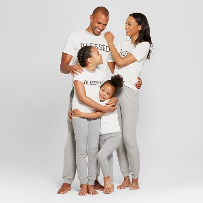 Matching White and gray pajamas for the family