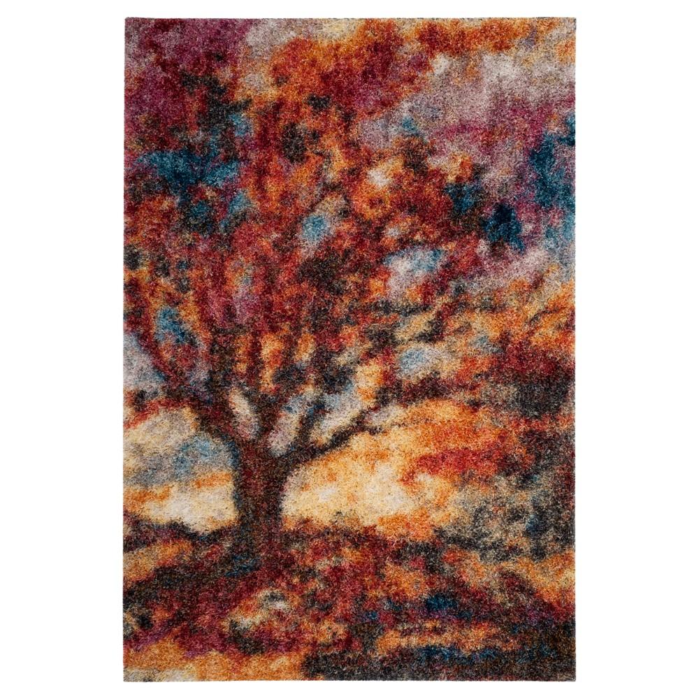 Rust Blue Tree Loomed Area Rug 5 1 X7 6 Safavieh