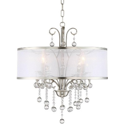 """Possini Euro Design Bright Nickel Pendant Chandelier 22"""" Wide Modern Clear Crystal Sheer Shade 4-Light Fixture Dining Room House"""