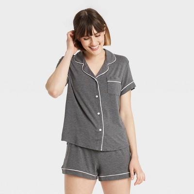 Women's Beautifully Soft Short Sleeve Notch Collar Top and Shorts Pajama Set - Stars Above™ Heathered Gray M