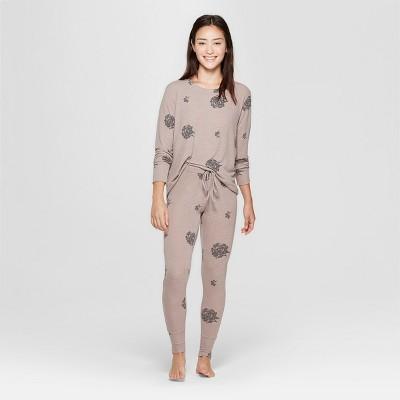 Women's Floral Print Cozy Pajama Set - Xhilaration™ Tan S