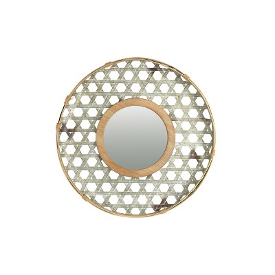 Round Metal Wall Mirror with Galvanized Wood Frame - 3R Studios