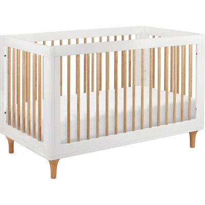 Babyletto Lolly 3-in-1 Convertible Crib with Toddler Rail - White/Natural