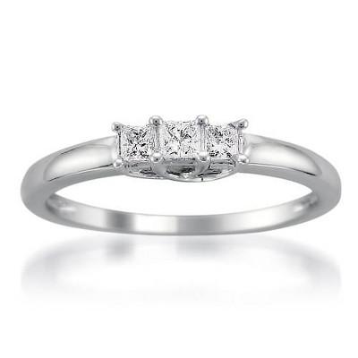 Pompeii3 1/4ct 3 Stone Princess Cut Diamond Ring 14K White Gold