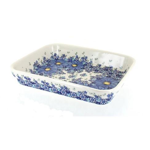 Blue Rose Polish Pottery Blue Starflower Medium Rectangular Baker - image 1 of 1