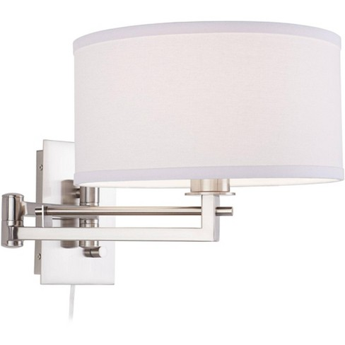 Possini Euro Design Modern Swing Arm Wall Lamp Brushed Nickel Plug-In Light Fixture White Linen Drum Shade Bedroom Bedside Reading - image 1 of 4