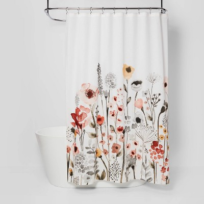 Floral Wave Shower Curtain White - Threshold™