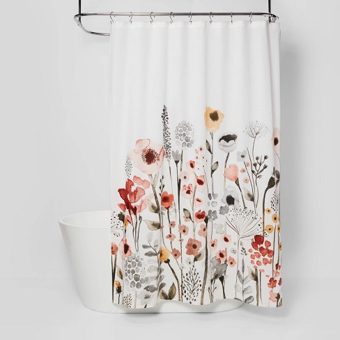 Floral Wave Shower Curtain White - Threshold™ - image 1 of 4