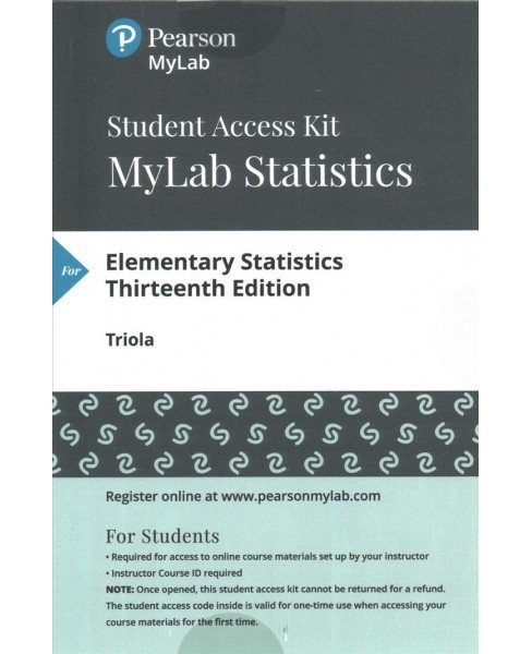 Elementary Statistics Mystatlab With Pearson Etext Standalone Access Card (Hardcover) (Mario F. Triola) - image 1 of 1