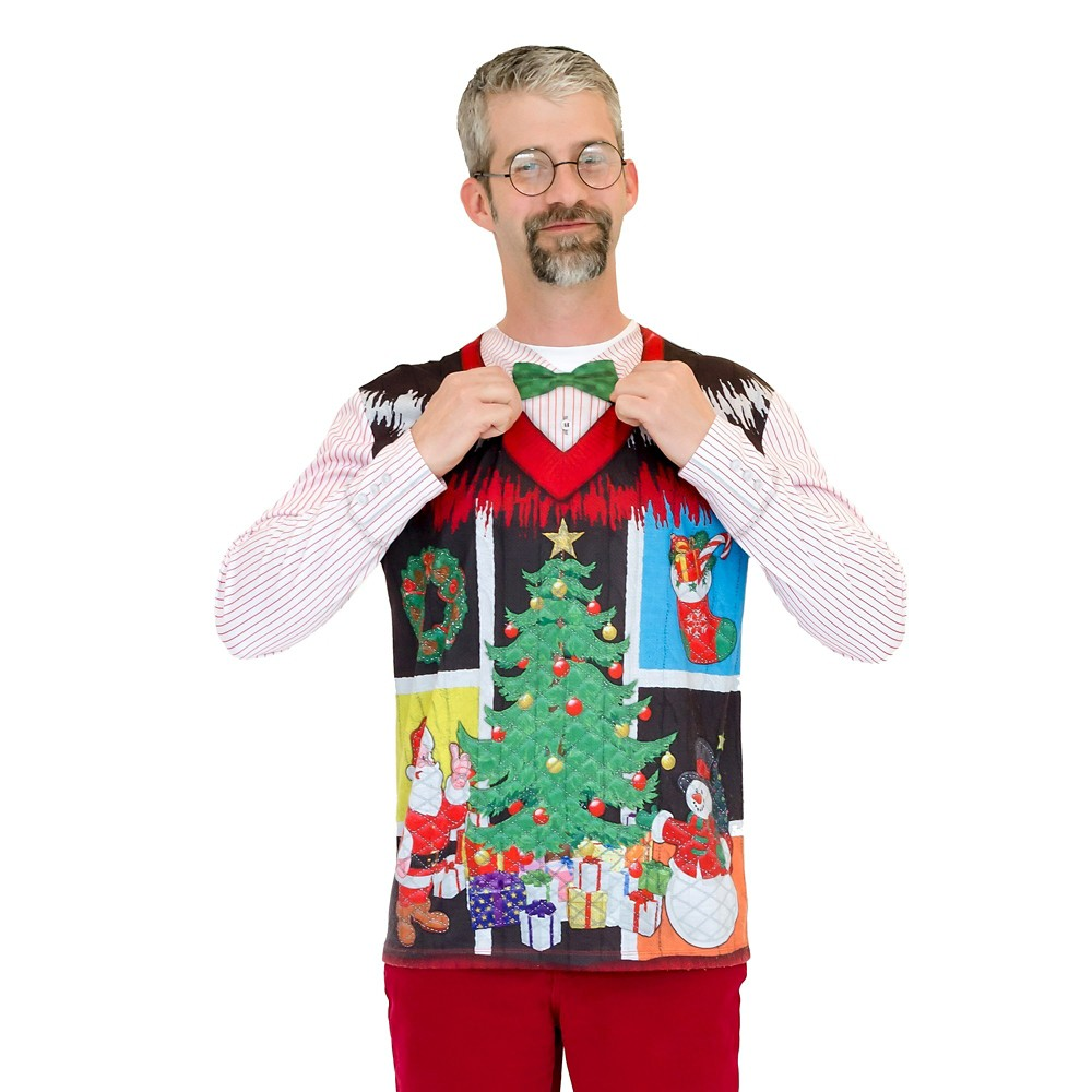 Men's Ugly Christmas Costume Sweater Vest with Bow Tie, Long Sleeve T-Shirt - Large, Multicolored
