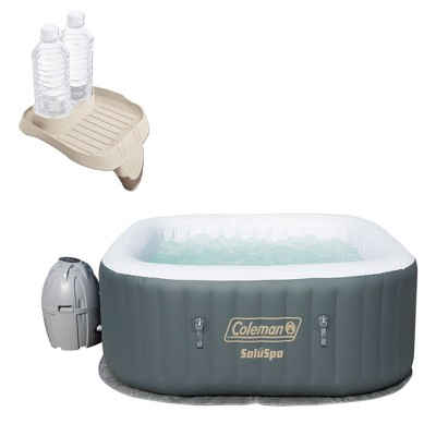 Coleman SaluSpa 4 Person Inflatable AirJet Hot Tub with Attachable Cup Holder with 114 Air Jets and Power Saving Heating System