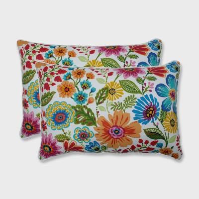 2pk Gregoire Prima Oversized Rectangular Outdoor Throw Pillow Blue - Pillow Perfect