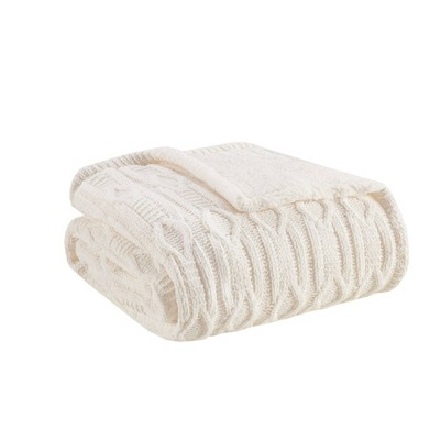 """50""""x60"""" Mia Chenille Knit to Sherpa Reversible Throw Blanket"""