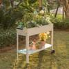 Gardenised Mobile Planter Raised Garden Bed Rectangular Flower Cart with Shelf - image 3 of 4