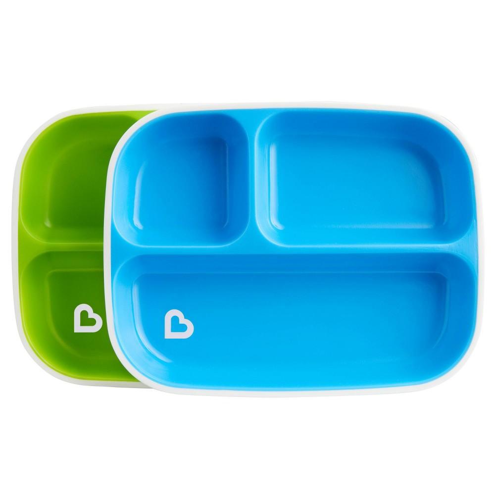Munchkin Splash Toddler Divided Plates 2pk Blue Green