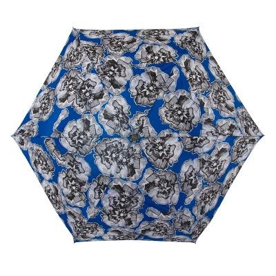 Cirra by ShedRain Floral Print Women's Air Vent Auto Open Close Compact Umbrella - Blue