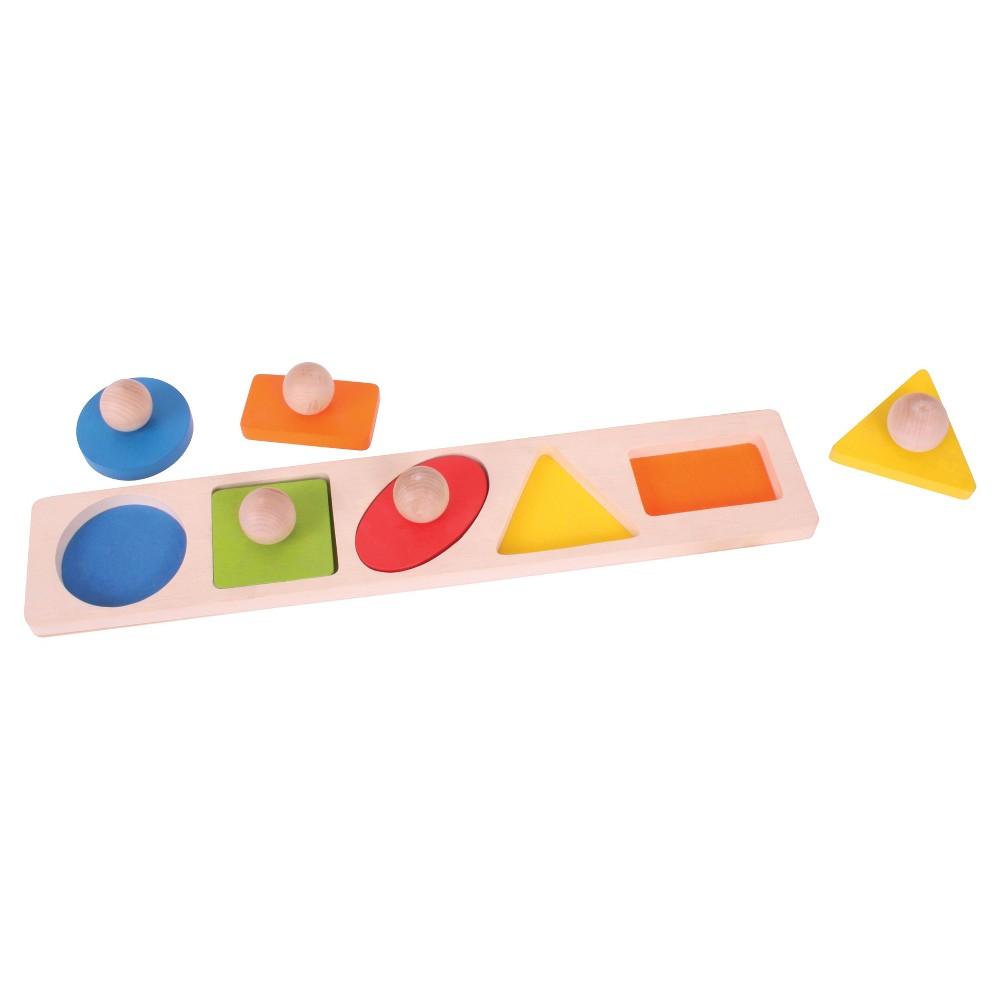 Bigjigs Toys Shape Matching Board Wooden Developmental Toy (5Pc)