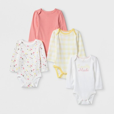 Baby Girls' 4pk Long Sleeve Bodysuit - Cloud Island™ White 3-6M
