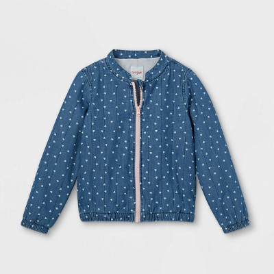 Girls' Chambray Quilted Long Sleeve Jacket - Cat & Jack™ Blue