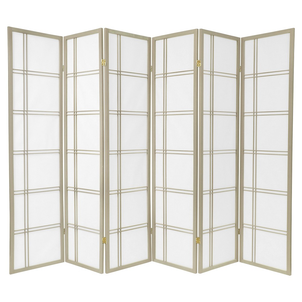 Image of 6 ft. Tall Double Cross Shoji Screen - Special Edition - Gray (6 Panels)