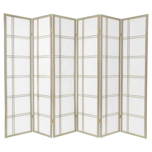 6 ft. Tall Double Cross Shoji Screen 6 Panels - Oriental Furniture - image 1 of 1