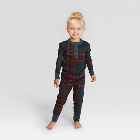 Toddler Plaid Holiday Pajamas Union Suit - Blue 18M - Hearth   Hand ... 262ba81fe