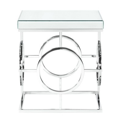 Katie Square Mirrored End Table Chrome - Picket House Furnishings