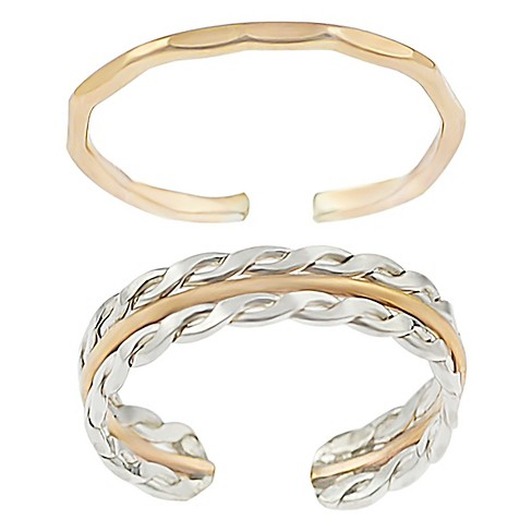 Women's Journee Collection Goldfill Sterling Silver Twist Dimensional Two-piece Toe Ring Set - Two Tone/Gold - image 1 of 3