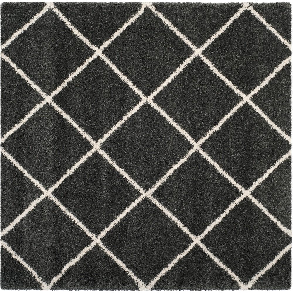7'X7' Geometric Loomed Square Area Rug Dark Gray/Ivory - Safavieh