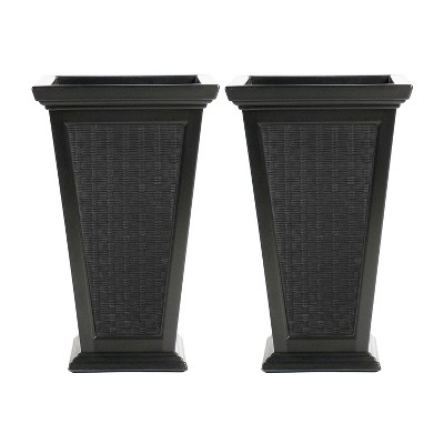 FCMP Outdoor MOD-WP3000-BLK-2 24-Inch Self Watering Freestanding Pedestal Home Wicker Planter Set of 2, Black