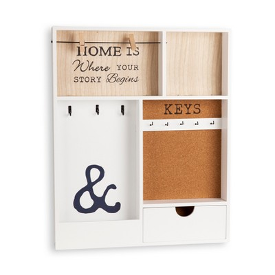 Entryway Wall Organizer & Key Holder - White