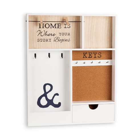Entryway Wall Organizer & Key Holder - White - image 1 of 4