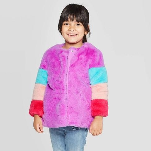 Toddler Girls' Pieced Faux Fur Jacket - Cat & Jack™ Violet - image 1 of 3