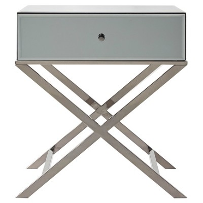 Whitney Mirrored Campaign Accent Table - Gray Nickel - Inspire Q