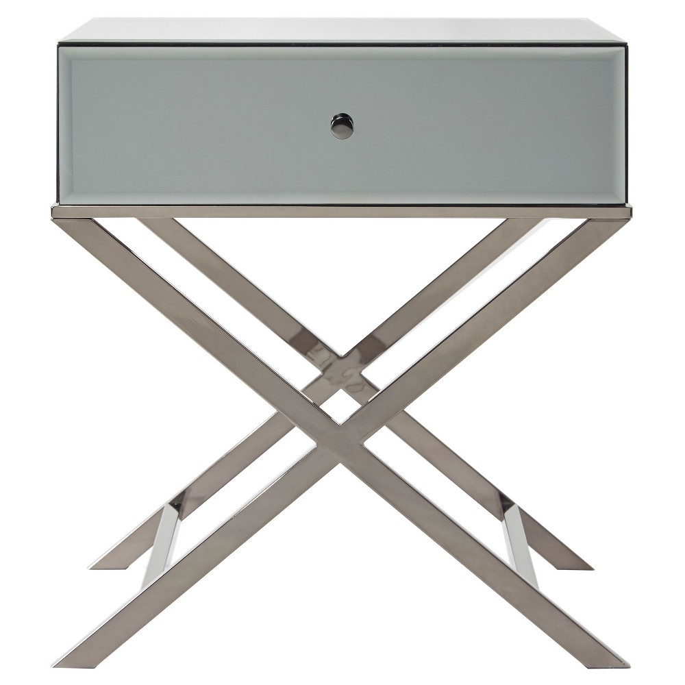 Whitney Mirrored Campaign Accent Table - Gray Nickel - Inspire Q, Grey Nickel